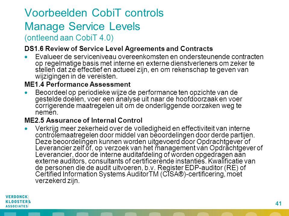 Voorbeelden CobiT controls Manage Service Levels (ontleend aan CobiT 4