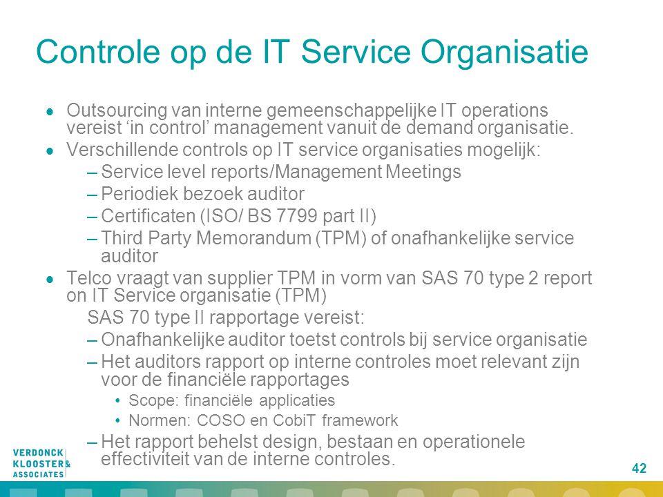 Controle op de IT Service Organisatie