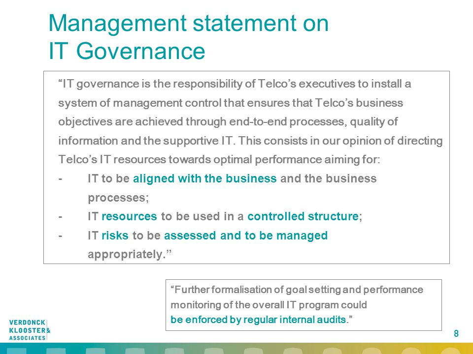 Management statement on IT Governance