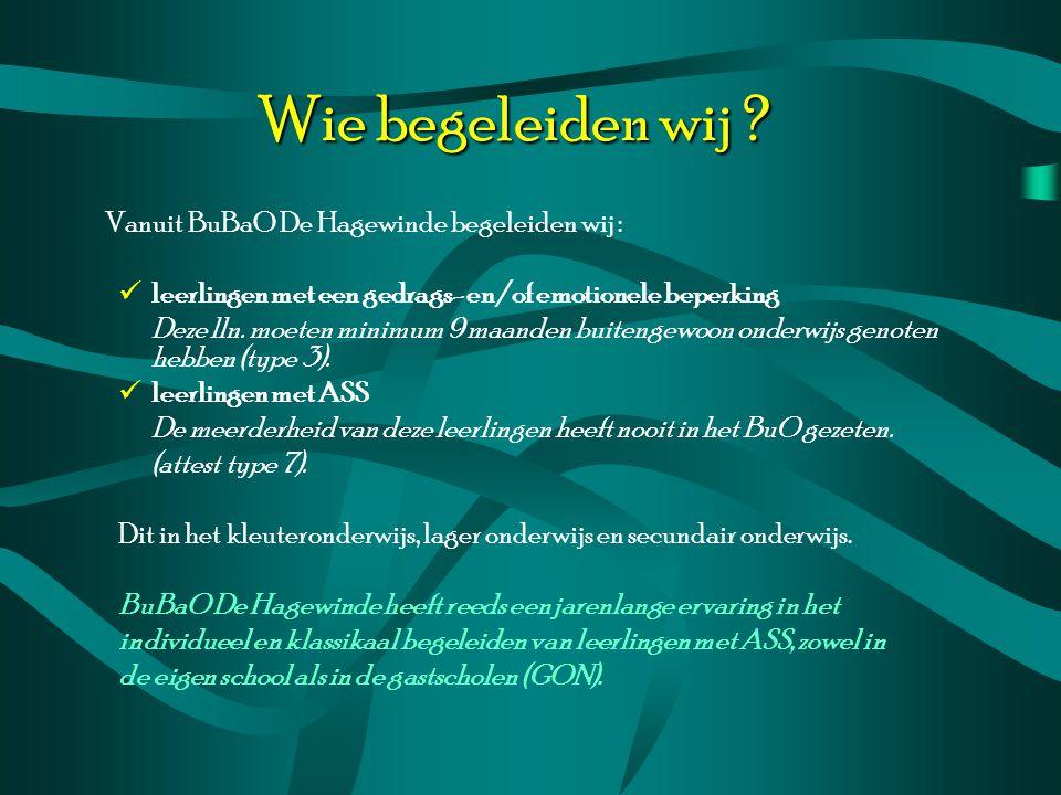 Wie begeleiden wij Vanuit BuBaO De Hagewinde begeleiden wij : leerlingen met een gedrags- en/of emotionele beperking.