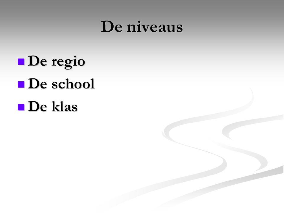 De niveaus De regio De school De klas