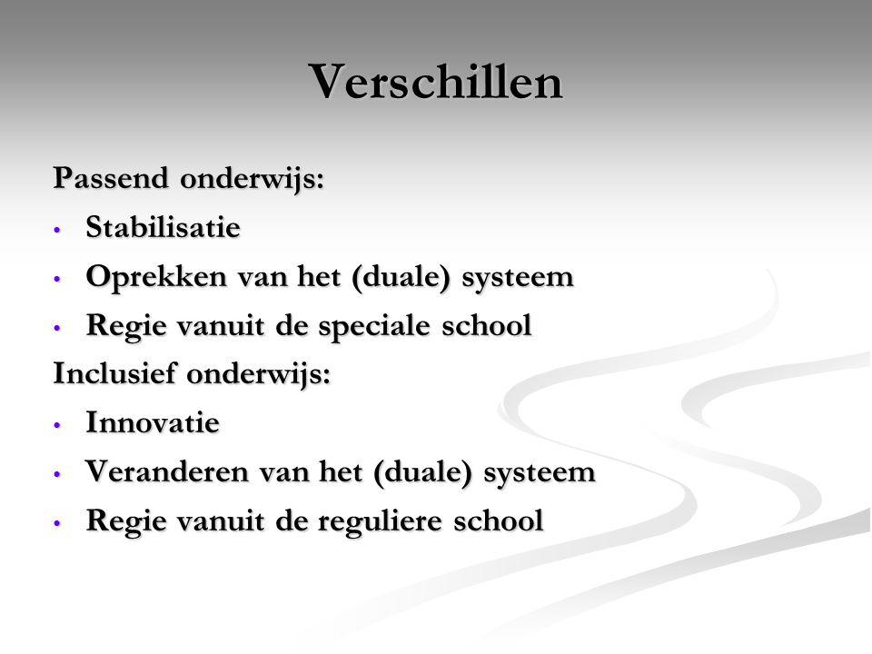 Verschillen Passend onderwijs: Stabilisatie