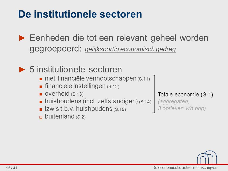 De institutionele sectoren