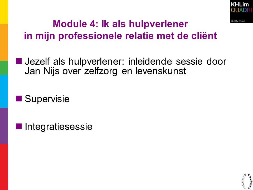 Module 4: Ik als hulpverlener in mijn professionele relatie met de cliënt