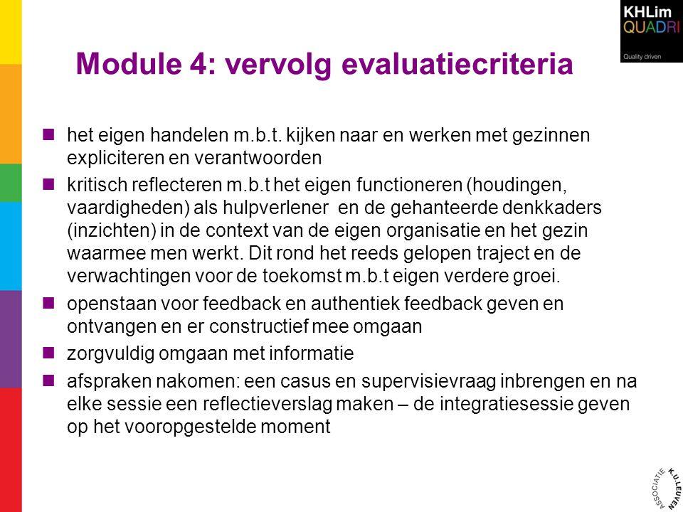 Module 4: vervolg evaluatiecriteria