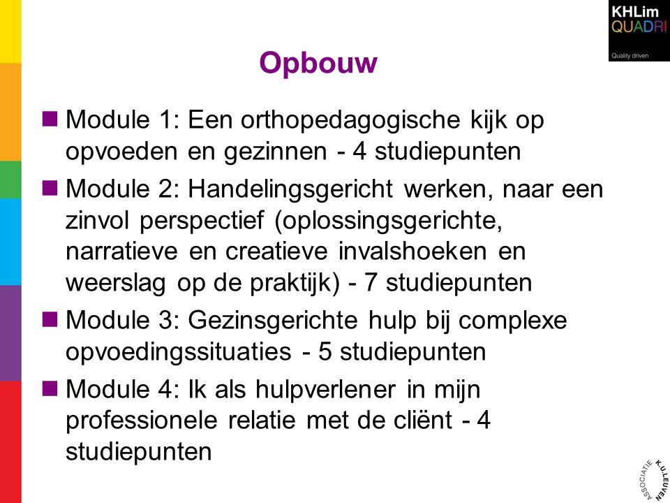 Opbouw Module 1: Een orthopedagogische kijk op opvoeden en gezinnen - 4 studiepunten.