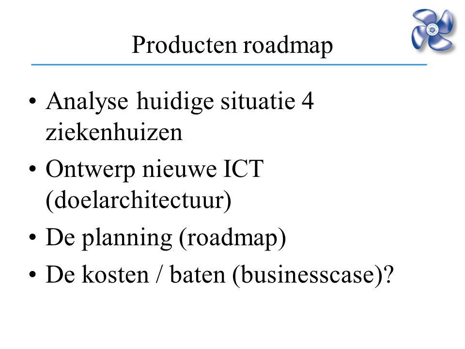 Producten roadmap Analyse huidige situatie 4 ziekenhuizen. Ontwerp nieuwe ICT (doelarchitectuur) De planning (roadmap)