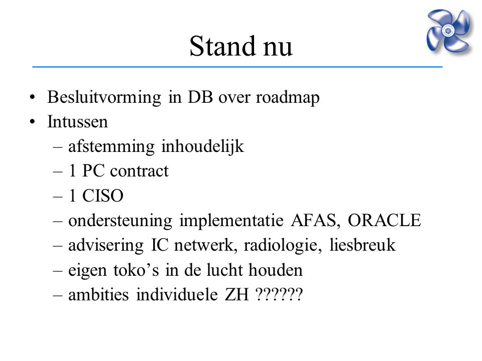 Stand nu Besluitvorming in DB over roadmap Intussen