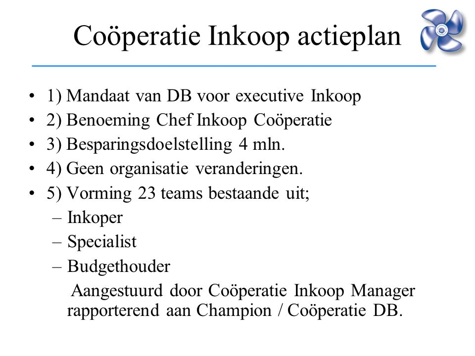 Coöperatie Inkoop actieplan