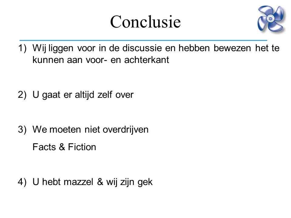 Conclusie Wij liggen voor in de discussie en hebben bewezen het te kunnen aan voor- en achterkant. 2) U gaat er altijd zelf over.