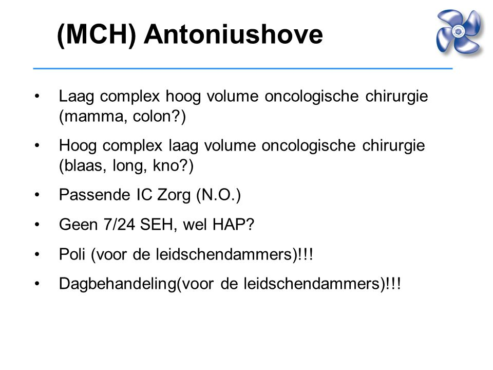 (MCH) Antoniushove Laag complex hoog volume oncologische chirurgie (mamma, colon )