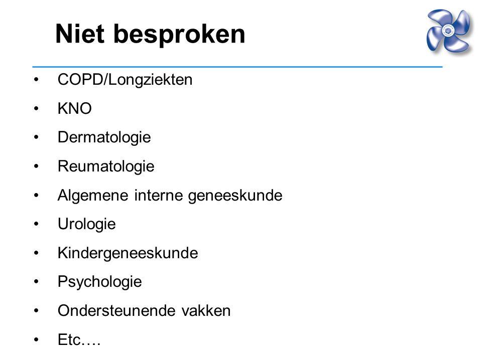 Niet besproken COPD/Longziekten KNO Dermatologie Reumatologie