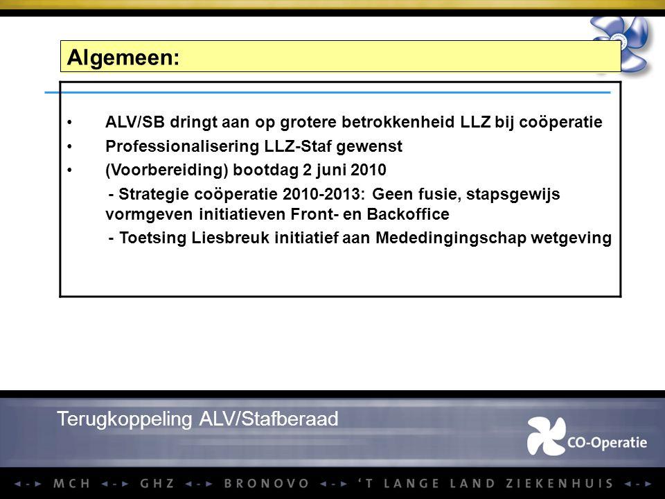 Algemeen: Terugkoppeling ALV/Stafberaad