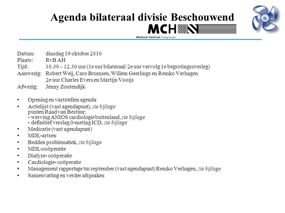 Agenda bilateraal divisie Beschouwend