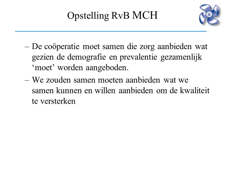 Opstelling RvB MCH De coöperatie moet samen die zorg aanbieden wat gezien de demografie en prevalentie gezamenlijk 'moet' worden aangeboden.