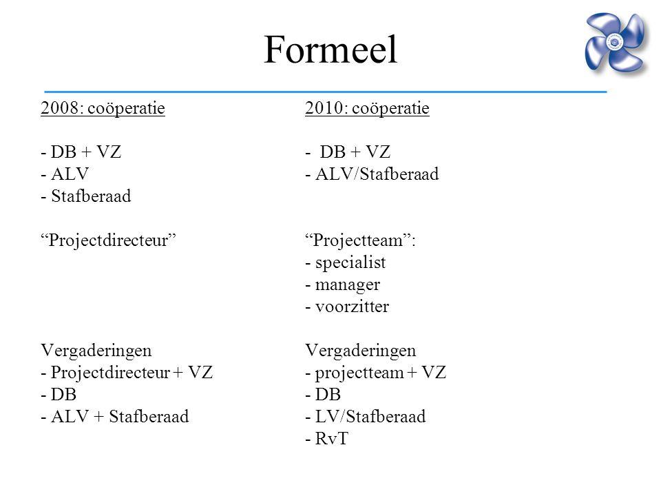 Formeel 2008: coöperatie 2010: coöperatie - DB + VZ - DB + VZ