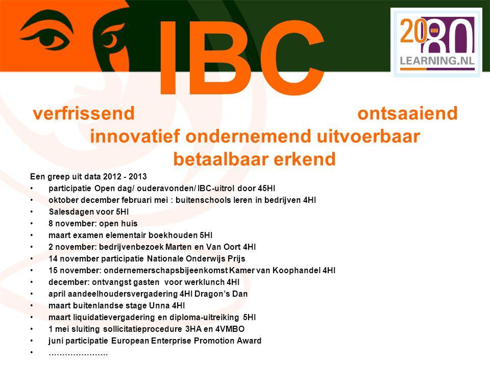 IBC verfrissend ontsaaiend innovatief ondernemend uitvoerbaar betaalbaar erkend.