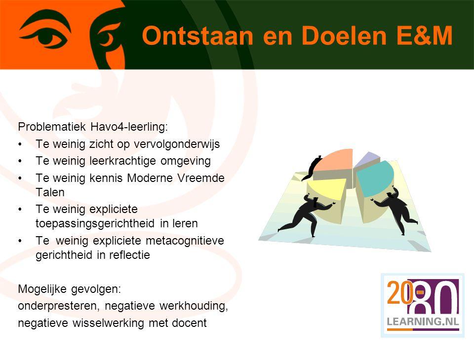 Ontstaan en Doelen E&M Problematiek Havo4-leerling: