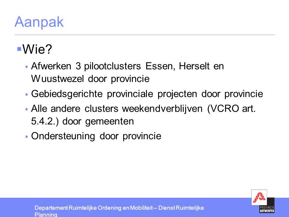 Aanpak Wie Afwerken 3 pilootclusters Essen, Herselt en Wuustwezel door provincie. Gebiedsgerichte provinciale projecten door provincie.