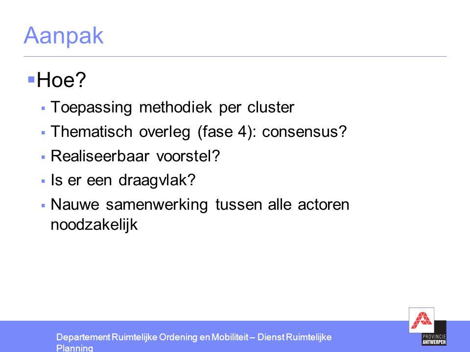 Aanpak Hoe Toepassing methodiek per cluster
