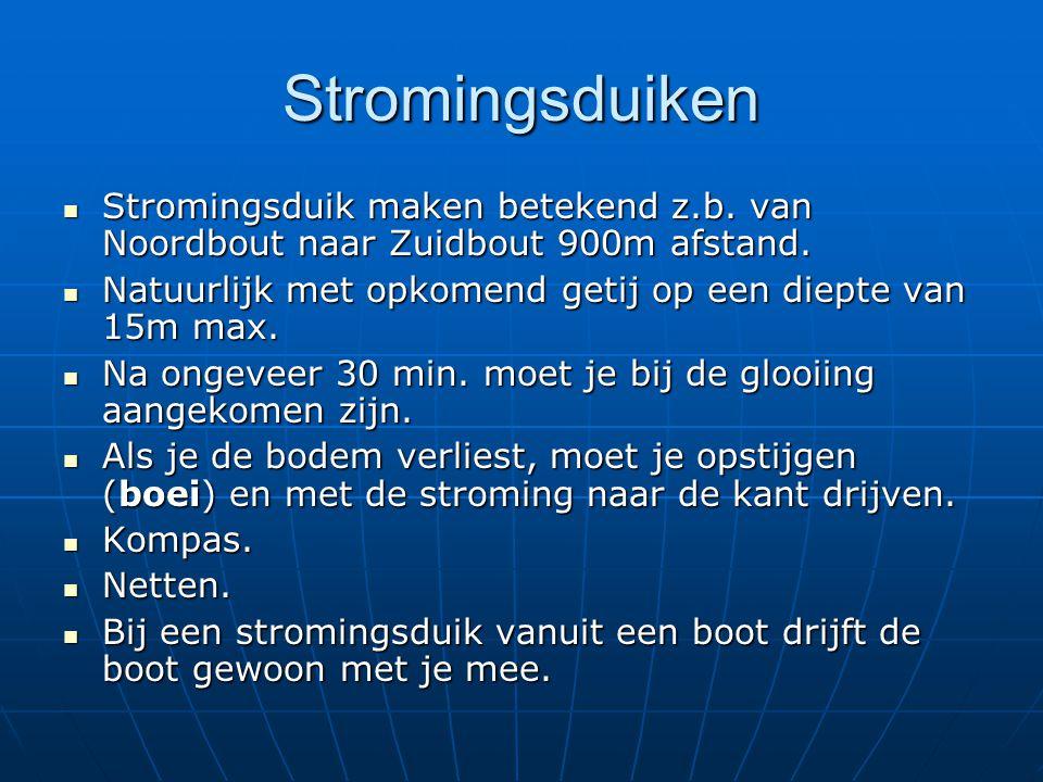 Stromingsduiken Stromingsduik maken betekend z.b. van Noordbout naar Zuidbout 900m afstand. Natuurlijk met opkomend getij op een diepte van 15m max.