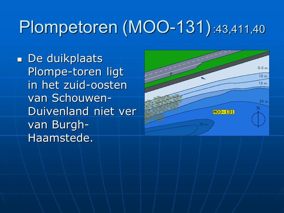 Plompetoren (MOO-131) :43,411,40 De duikplaats Plompe-toren ligt in het zuid-oosten van Schouwen-Duivenland niet ver van Burgh-Haamstede.
