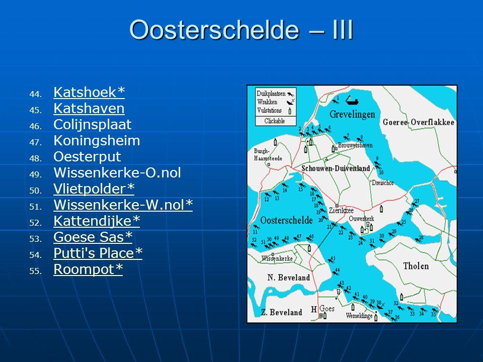 Oosterschelde – III Katshoek* Katshaven Colijnsplaat Koningsheim