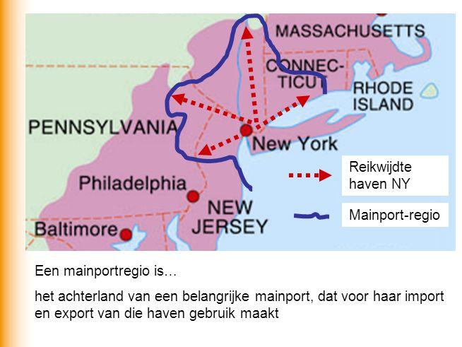 Reikwijdte haven NY Mainport-regio. Een mainportregio is…