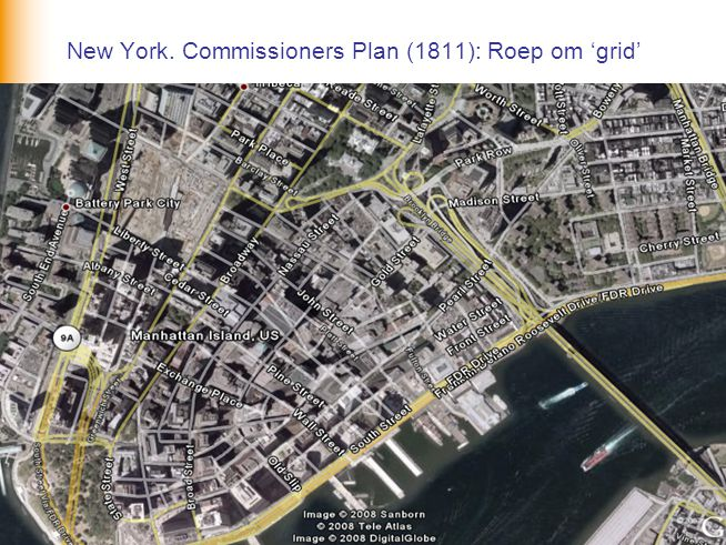 New York. Commissioners Plan (1811): Roep om 'grid'