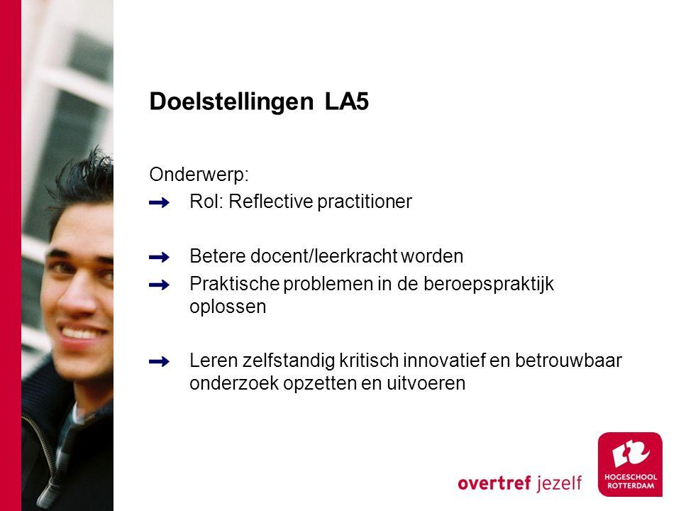 Doelstellingen LA5 Onderwerp: Rol: Reflective practitioner