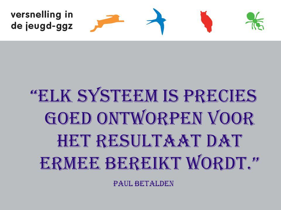 Elk systeem is precies goed ontworpen voor het resultaat dat ermee bereikt wordt.
