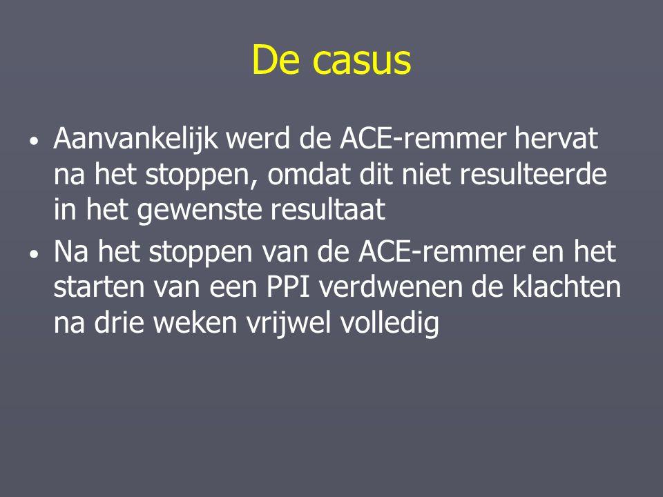 De casus Aanvankelijk werd de ACE-remmer hervat na het stoppen, omdat dit niet resulteerde in het gewenste resultaat.