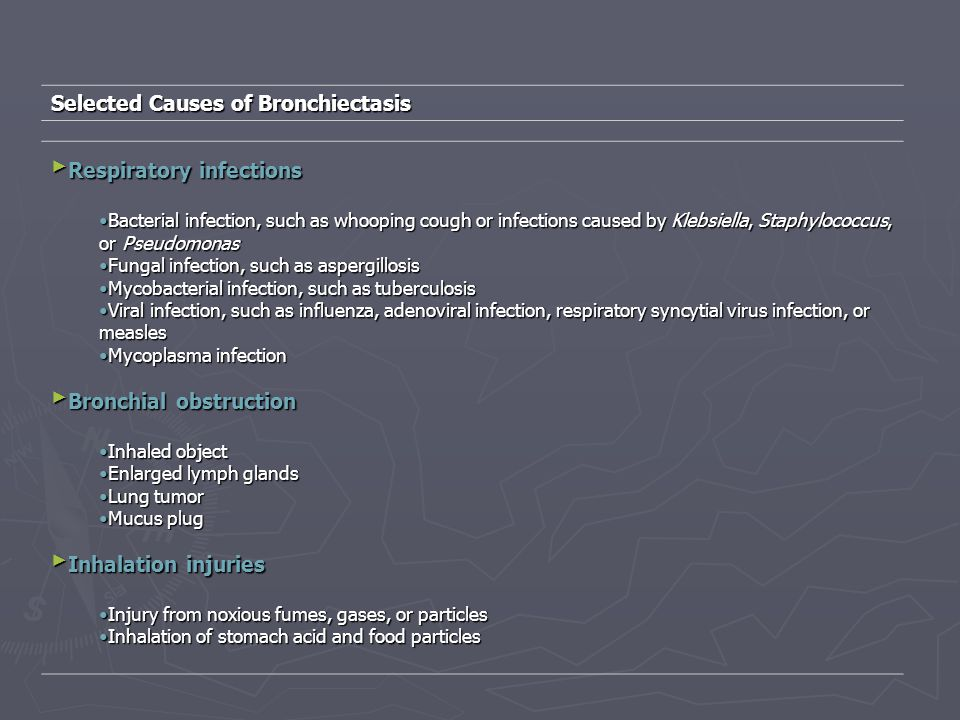 Selected Causes of Bronchiectasis