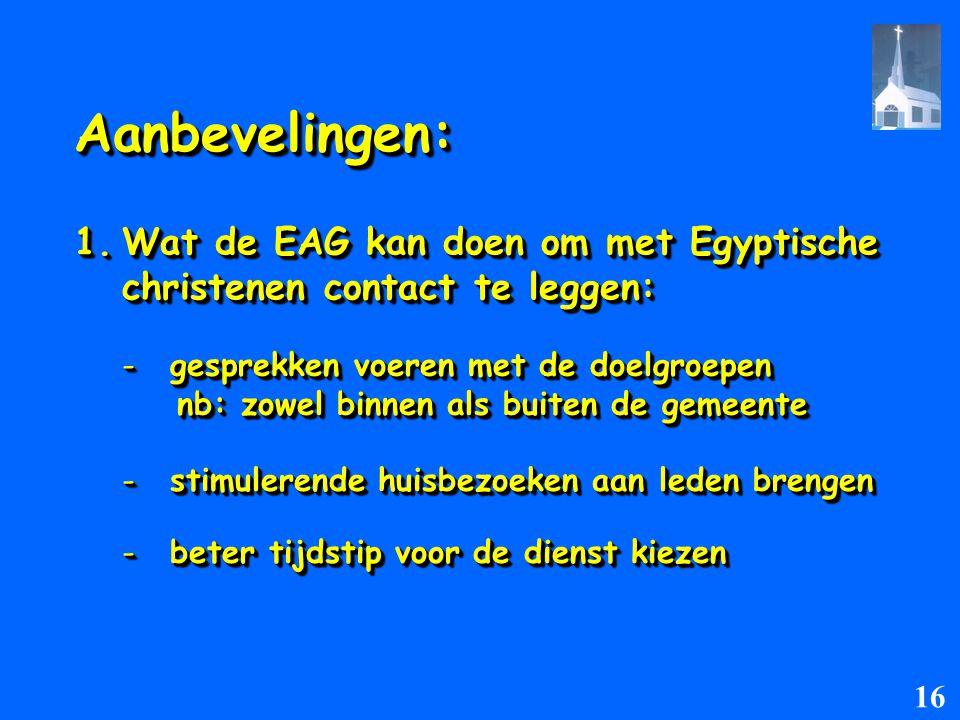 Aanbevelingen: Wat de EAG kan doen om met Egyptische