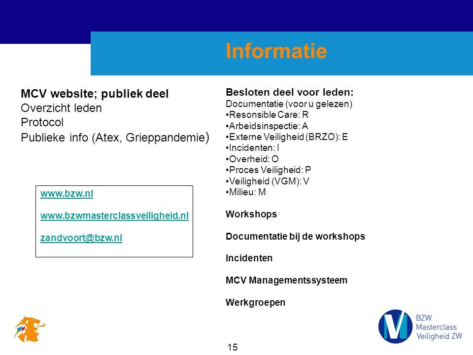 Informatie MCV website; publiek deel Overzicht leden Protocol