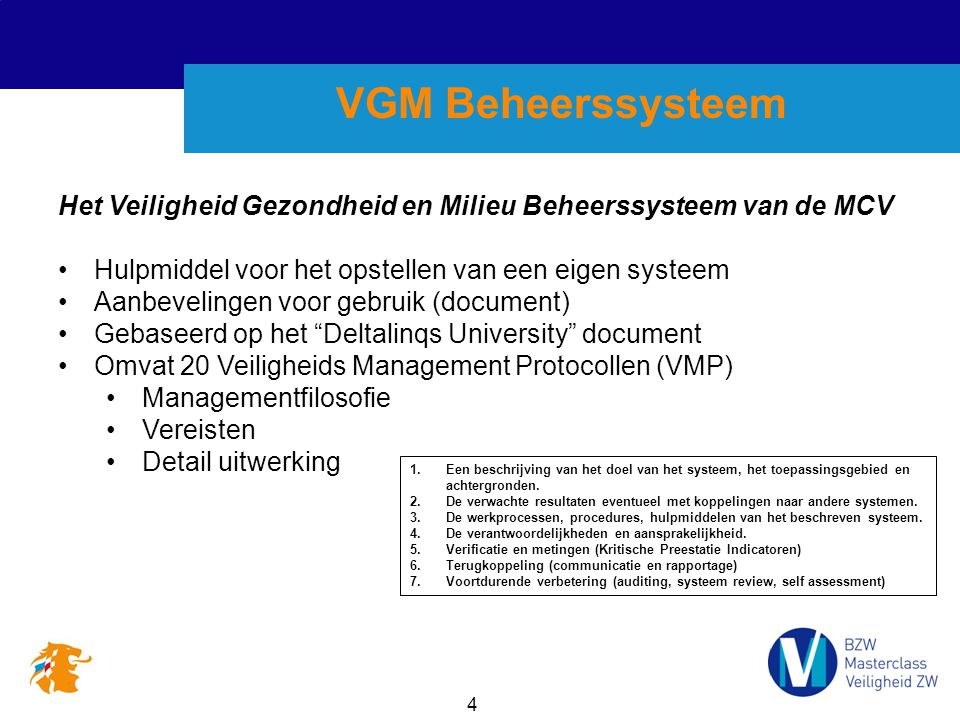 VGM Beheerssysteem Het Veiligheid Gezondheid en Milieu Beheerssysteem van de MCV. Hulpmiddel voor het opstellen van een eigen systeem.