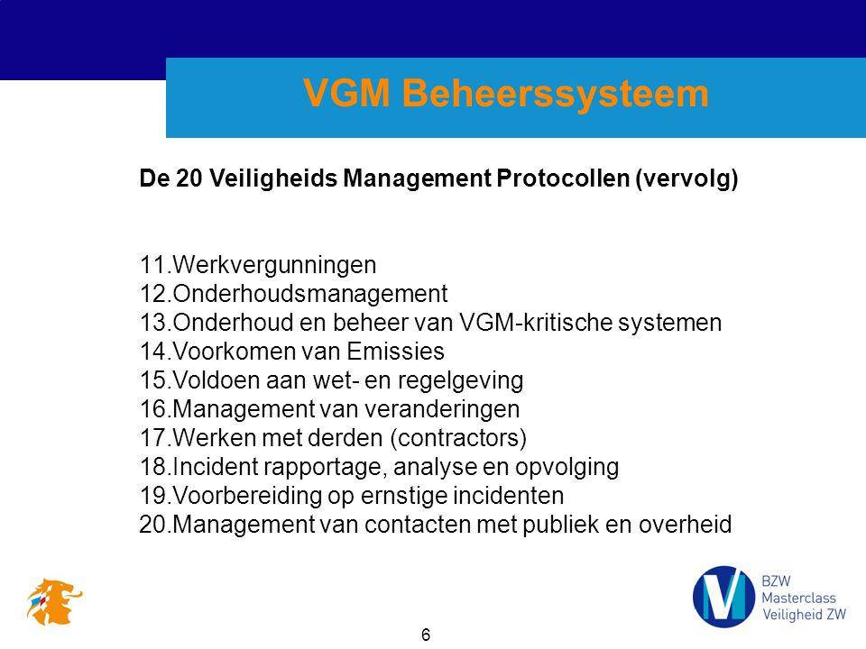 VGM Beheerssysteem De 20 Veiligheids Management Protocollen (vervolg)
