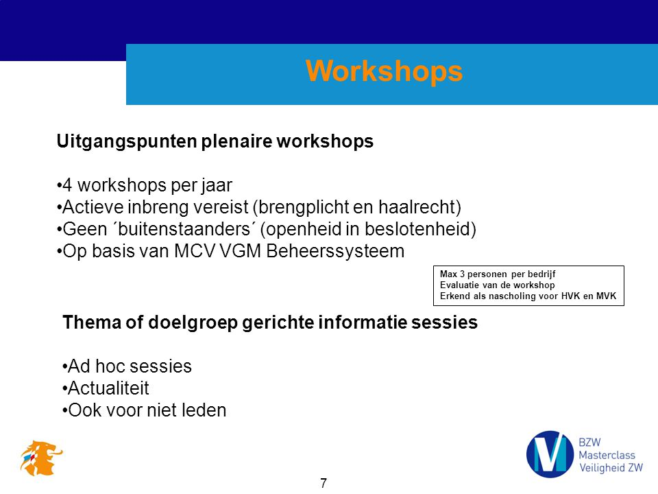 Workshops Uitgangspunten plenaire workshops 4 workshops per jaar