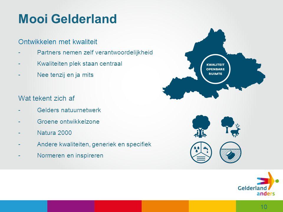 Mooi Gelderland Ontwikkelen met kwaliteit Wat tekent zich af