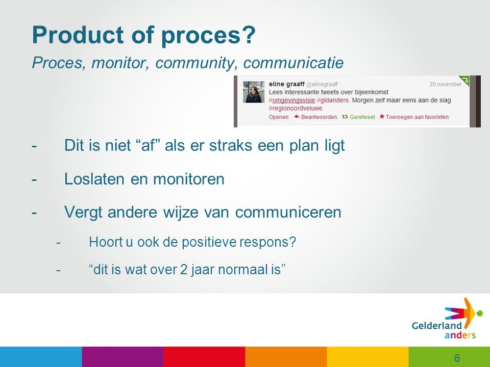 Product of proces Proces, monitor, community, communicatie