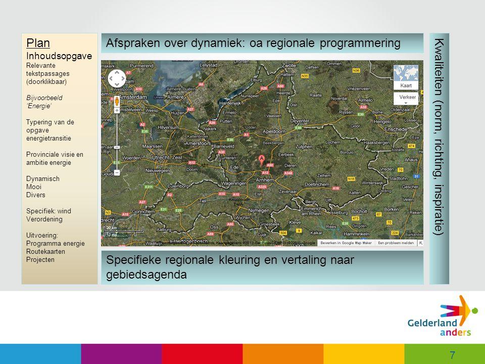 Afspraken over dynamiek: oa regionale programmering