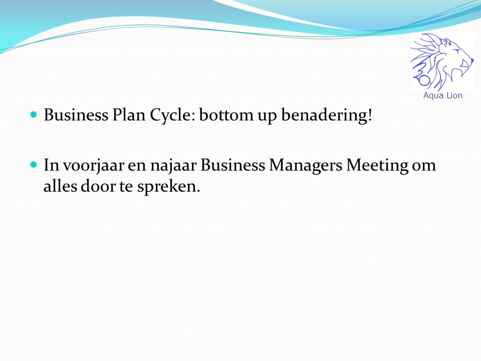 Business Plan Cycle: bottom up benadering!