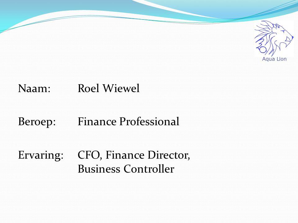 Aqua Lion Naam: Roel Wiewel Beroep: Finance Professional Ervaring: CFO, Finance Director, Business Controller