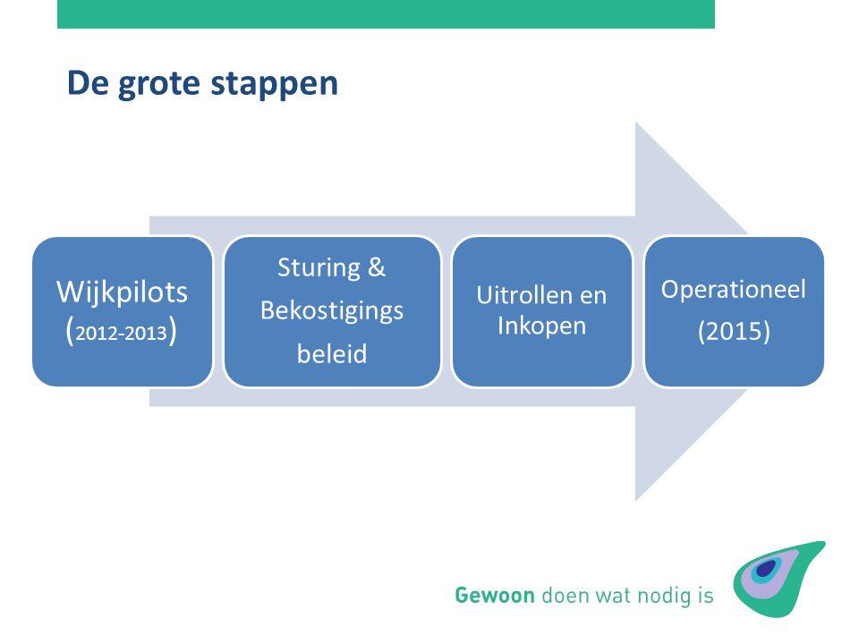 De grote stappen Wijkpilots (2012-2013) Sturing & Bekostigings beleid