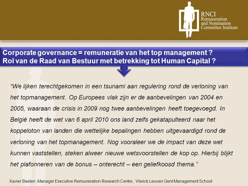 Corporate governance = remuneratie van het top management