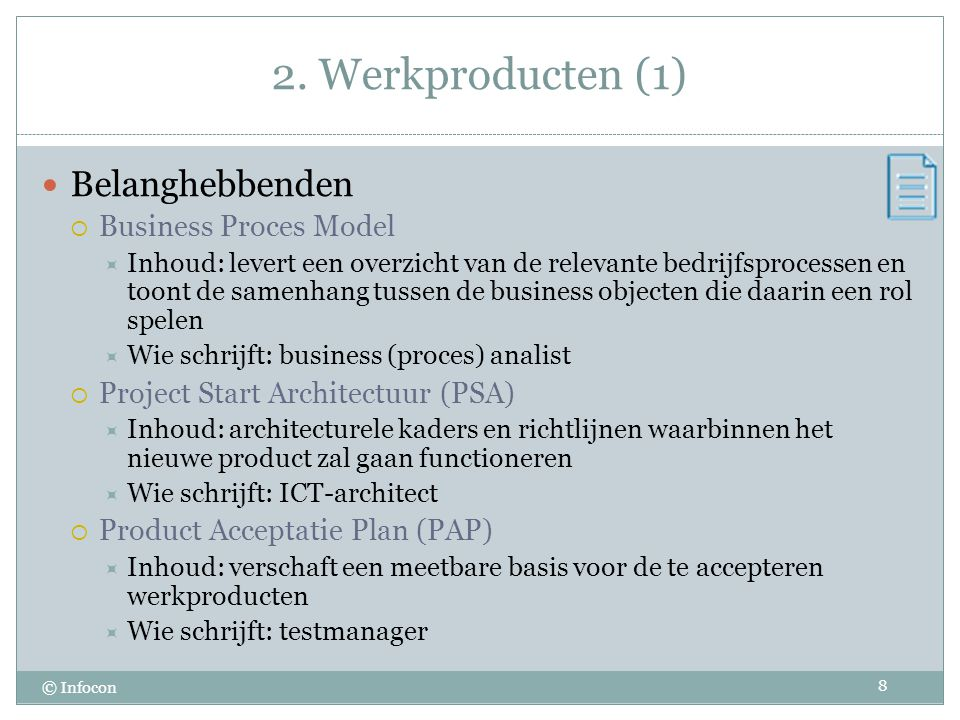 2. Werkproducten (1) Belanghebbenden Business Proces Model