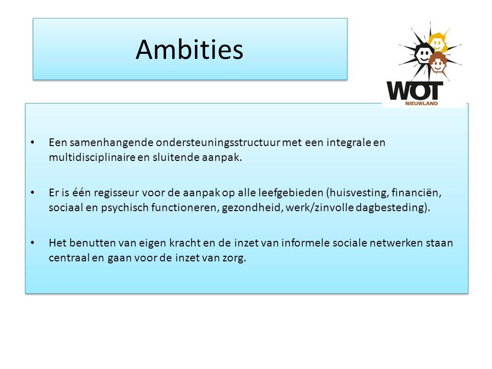 Ambities Een samenhangende ondersteuningsstructuur met een integrale en multidisciplinaire en sluitende aanpak.