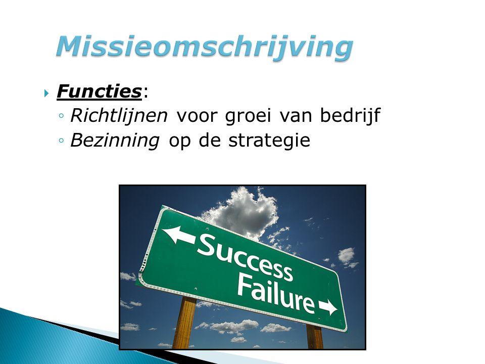 Missieomschrijving Richtlijnen voor groei van bedrijf