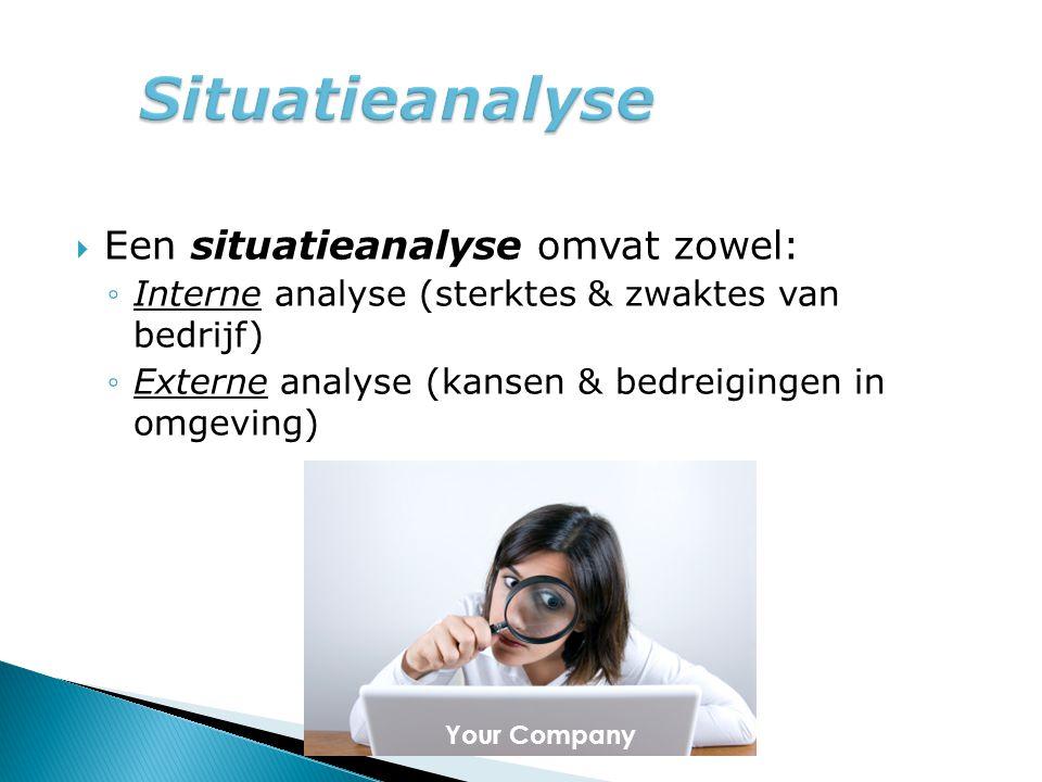 Situatieanalyse Een situatieanalyse omvat zowel: