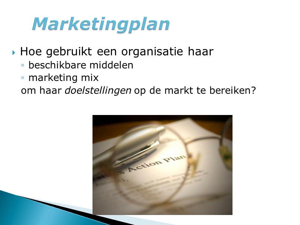 Marketingplan Hoe gebruikt een organisatie haar beschikbare middelen